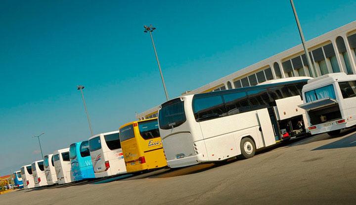 Стоянка автобусов.