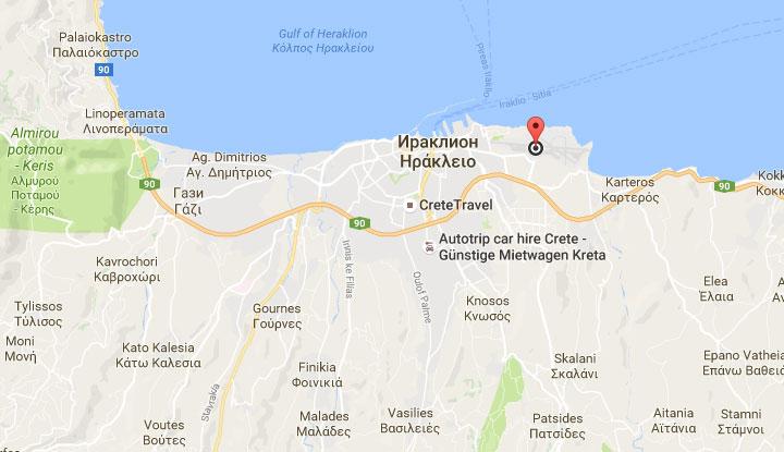 Карта острова Крит.